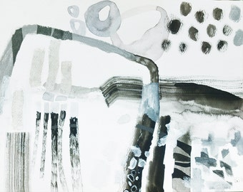original watercolor ink painting on paper abstract art 10.6 x 10.6 inch - Connected passage