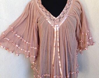 Vintage Dusty rose Mexican boho top gauze ribbons v neck sz S M Festival wear
