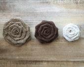 "Set of 10- Burlap Rosettes-2.5"" Medium- 3 Colors Available- Weddings/ Country/ Folk/ Rustic-Fabric Flowers-Fabric Rosettes-DIY-Americana"