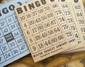 Vintage BINGO Game Cards ~ 39 Included - Late 1930's Era / Mixed Lot 1950's era ~ Aged Cream and Blue