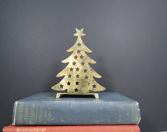 Vintage Brass Christmas Tree Candleholder // Holiday Decoration Gold Punched Metal Votive Candle Holder Display Festive Home Decor Gift