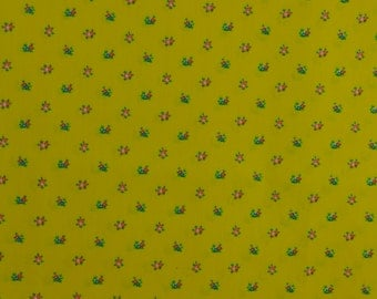 Bright Yellow Calico Fabric Tiny Print Fabric Cotton Blend Vintage Floral Fabric Yellow Fabric - 1 Yard - CFL1482