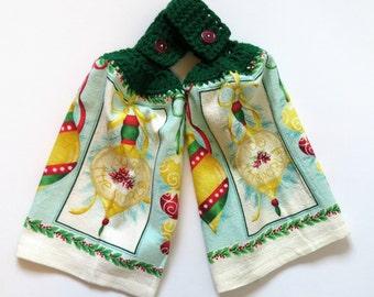 Joy To The World Crochet Top Kitchen Towel Set of 2