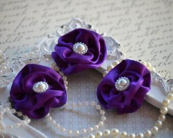 "Set of 3 Plum Satin Flowers 1.5"", small fabric flowers, satin ribbon flower, headband, Satin Flower, Pearl Flower, flower accessories"