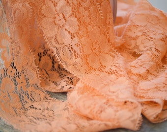 "Peach Lace Elastic, Lace Trim - Lace Stretch Elastic -2"" Lace by the yard - Hair Elastic -Lace FOE - Stretch Lace"