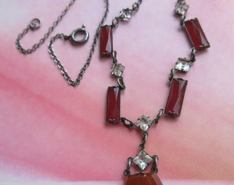 Vintage Deco 1930s Necklace, Sterling Lavaliere Necklace, Carnelian Glass Jewelry, Estate Jewelry, Romantic Vintage, Gifts For Girlfriend