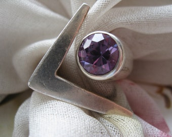 Vintage Signed Sigi Mexican Ring, Mexican Taxco Jewelry, Signed Mexican Jewelry, Faux Alexandrite Jewelry, Large Silver Ring, Estate Jewelry