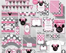 Minnie Mouse Birthday Party Package | Printable Baby Girl Birthday Decorations | Instant Download Party Pack | Invitation Available in Shop