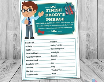 Baby Shower Games, Finish Daddy's Phrase, PRINTABLE, Many Unique Game to Choose From, INSTANT DOWNLOAD