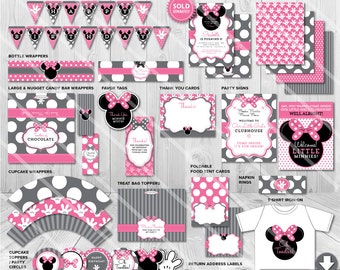 Minnie Mouse Party Decorations, Minnie Mouse Party Ideas, Printable Minnie Mouse Birthday Party Package, Minnie Mouse Party Kit Grey Pink