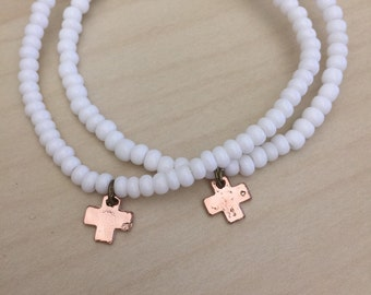 White Bronze Cross Bracelet