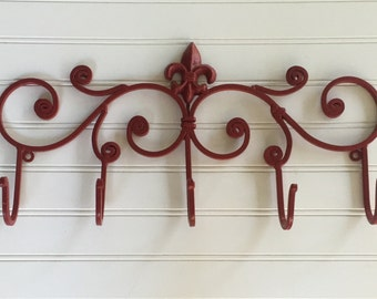 Decorative Wall Hook/ Shabby Chic Decor/ Fleur de Lis/ Coat Rack/ Bathroom Hook / Towel Hook / Wall Hook /Red / Red Wall Decor