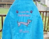 I Love My Dachshund Hooded Towel - Free Personalization