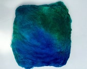 Hand Dyed Silk Fiber Mawata Silk Hankies for Felting, Spinning, Knitting. TURQUOISE ,TEAL and GREEN.