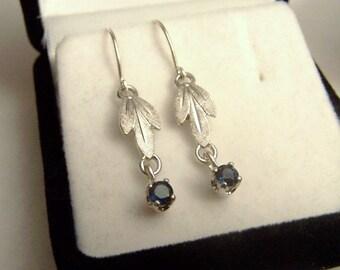 Genuine Blue Sapphire Sterling Silver Dangle Earrings Artisan Altered Vintage Van Dell Leaf Detail Hook Style Pierced