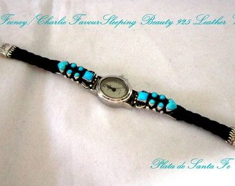 """Leo Feeney/Charlie Favour~Sleeping Beauty Turquoise~925 Hand Braided Black Leather ~~Adjustable Watch~~Fits From a 7"""" to 8"""" Wrist!"""