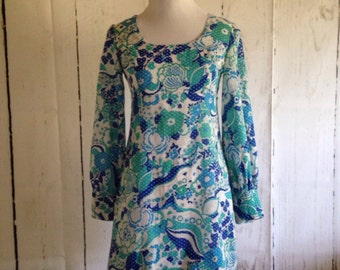 Vintage 60s Mini Dress - long sleeve Baby Doll Dress - Floral - Retro - Psychedelic - Prom - Groovy Boho - Costume Party Dress