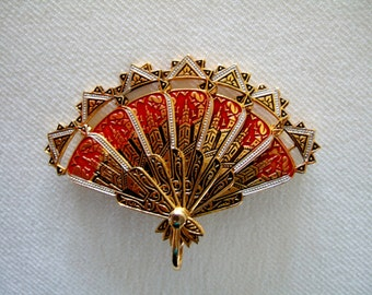 Vintage Brooch Spanish Damascene Red Enamel & Gold Plated Fan Collectibles Vintage Jewelry Valentine Gift for Her Unique Gifts for Wife