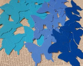 BUTTERFLY DIE CUTS Set/12 Aqua Sky Dark Blue Acid Free Cardstock