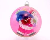 Pink 1950s Santa Christmas Ornament Hand Painted Made In Poland Vintage Glass Christmas Ornament Jumbo Sized