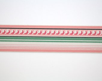 Full Vintage Wallpaper Border - TRIMZ - Pink Green White Stripes and Dots Geometric