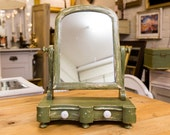 Antique Dressing Mirror, painted and distressed, Irish, Solid Pine, 2 drawers