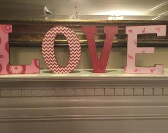 Valentine Decorative Letters - Love Wooden Letters - 7 inch - black - decorative - distressed - letters - shelf - mantle - hearts
