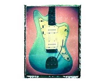Gibson Jaguar jazzmaster Acoustic guitar art print / music gift / rock n roll art / music room decor / guitar gift / man cave art
