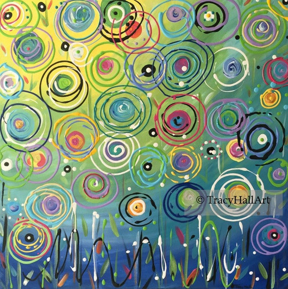 """Abstract Painting Turquoise Aqua Blue Yellow Circle Art Canvas 20"""" x 20"""""""