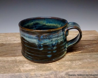 Northern Lights - Ceramic Mug - Handmade Pottery - Blue Stoneware