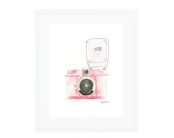 Pink Diana Flash Camera Giclee Print