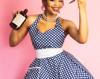 Fifties Style Sweetheart Retro Fifties Style Apron Navy Blue White Polka Dots Circular Flirty Skirt