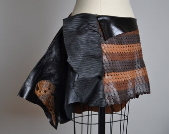 OOAK Leather Skirt - Leather Wrap Skirt - Leather Caplet - Leather Cape - Boho - Leather Jacket - Leather Skirts