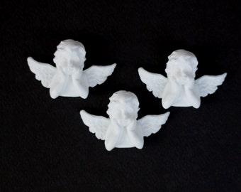 Angel Flatbacks Set of 3 Resin Cabochon Angel Ornaments Angel Figurine Scrapbooking Card Making Embellishments, Mixed Media, Scrapbook Album
