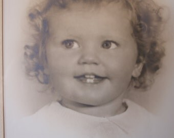 Vintage Framed Photograph of Cutest Little Girl with Curly Hair 1930's