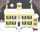 Emily Dickinson - Christmas Card - Traditional Snow Scene - Writer's Houses - Dog - Naive Art - Massachusetts - Poet - Moon - Snow