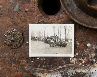 Vintage Photograph / 1940's / Original Harley Davidson Photo / Row Of Harley Davidson Bikes / Vintage Harley Collectible