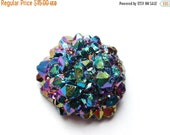 20%off. Gorgeous Very Sparkly Titanium Rainbow Druzy Agate-- Size 30mm Approx -- Hard to find.