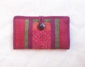 Handmade Hemp Long Wallet with Ethnic Embroidered