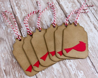 Christmas Gift Tags, Holiday Tags, Cardinal Tags