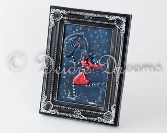 Fashion Shadow Box, Fashion Illustration, Umbrella Decor, Rainy Day Folk Art, Winter Wall Art, Girl with Umbrella Dancing in the Rain