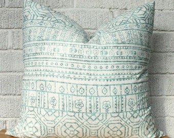 Pale Blue and White Kilim Pillow Cover, Tribal, Aztec, Boho,