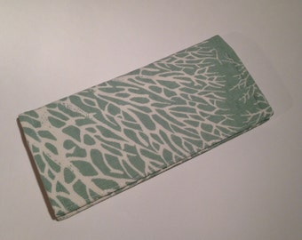 Fabric Checkbook Cover-Coral Print in Spa Green with Ivory Interior