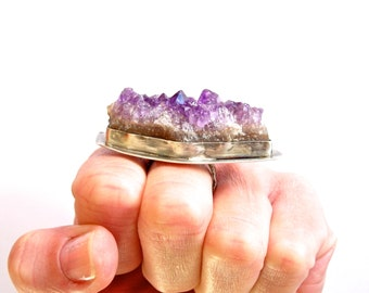 Raw Crystal Ring, Amethyst Ring, Sterling Silver Ring, Raw Amethyst and Sterling Silver Statement Ring