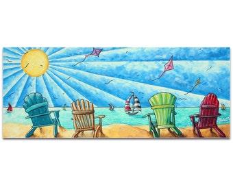 Beach Painting 'Beach Life v1' by Megan Duncanson - Tropical Wall Art Coastal Bathroom Decor on Metal or Acrylic