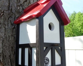 Wood Bird house, hanging bird house, Handcrafted Outdoor wood, Painted Bird house Nesting Box - Tudor style- Made in USA fully functional