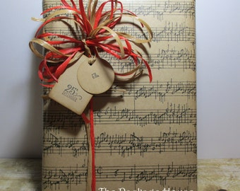 Kraft Sheet Music, Music Notes Gift Wrap, Christmas or All Occasion Wrapping Paper, 10 feet long x 24 inches wide