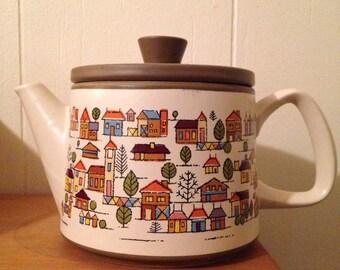 Mid Century Country Village Stoneware Tea Pot