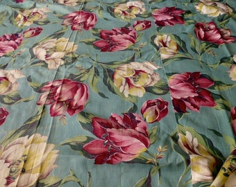 Vintage Floral Drapery Panel or Fabric