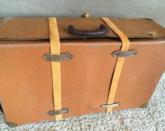 Vintage Fiberboard Suitcase with Canvas Strap Mailer